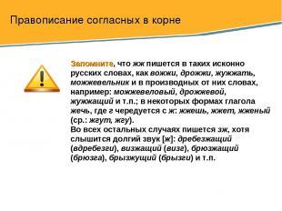 Правописание согласных в корне Запомните, что жж пишется в таких исконно русских