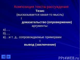 Композиция текста-рассуждения Тезис (высказывается какая-то мысль) I доказательс