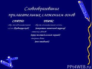Словообразование прилагательных сложением основ СЛИТНО ДЕФИС -обр. от подчинител