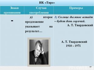 ИК «Тире» 17 Знаки препинания Случаи употребления Примеры - д) второе предложени