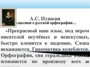 Русские классики о русской орфографии… А.С. Пушкин «Прекрасный наш язык, под пер