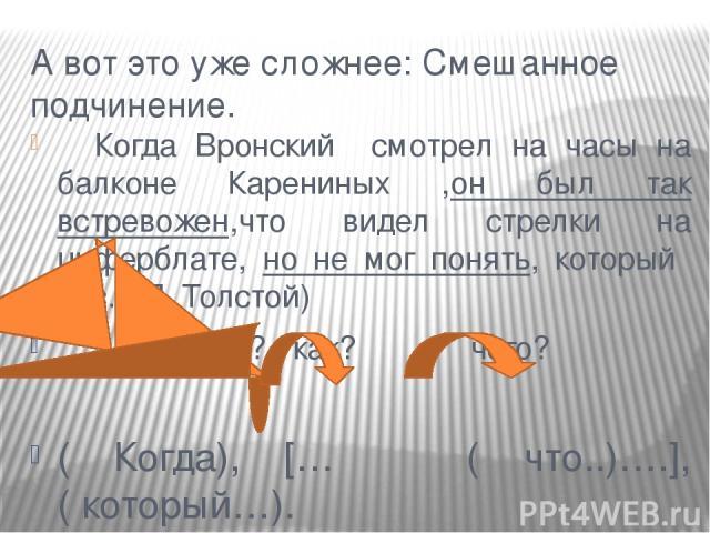 А вот это уже сложнее: Смешанное подчинение. Когда Вронский смотрел на часы на балконе Карениных ,он был так встревожен,что видел стрелки на циферблате, но не мог понять, который час. ( Л. Толстой) когда? как? чего? ( Когда), [… ( что..)….], ( который…).