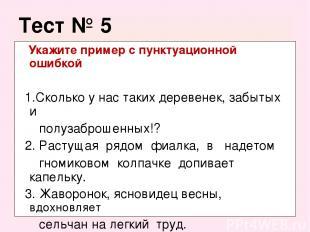 Тест № 5 Укажите пример с пунктуационной ошибкой 1.Сколько у нас таких деревенек
