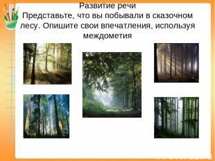 Развитие речи Представьте, что вы побывали в сказочном лесу. Опишите свои впечат