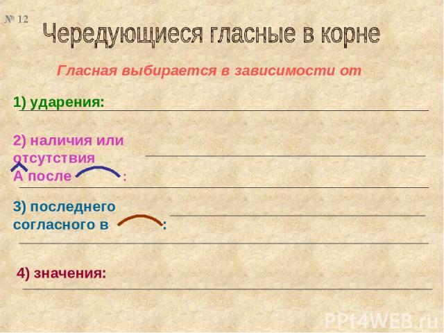 Гласная выбирается в зависимости от 2) наличия или отсутствия А после : 1) ударения: 3) последнего согласного в : 4) значения: № 12