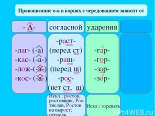 Правописание о-а в корнях с чередованием зависит от - А- согласной ударения -лаг