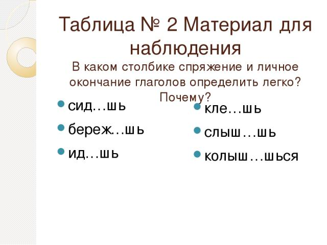 Таблица № 2 Материал для наблюдения В каком столбике спряжение и личное окончание глаголов определить легко? Почему? сид…шь береж…шь ид…шь кле…шь слыш…шь колыш…шься
