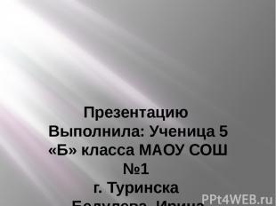 Презентацию Выполнила: Ученица 5 «Б» класса МАОУ СОШ №1 г. Туринска Бедулева Ири