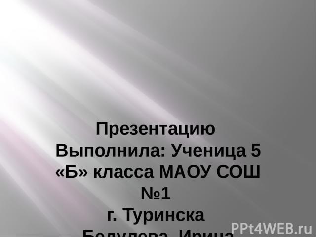 Презентацию Выполнила: Ученица 5 «Б» класса МАОУ СОШ №1 г. Туринска Бедулева Ирина