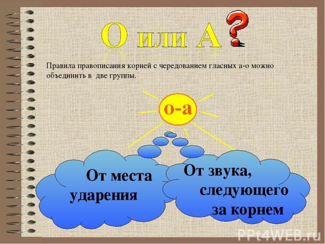 Правила правописания корней с чередованием гласных а-о можно объединить в две группы. От места ударения От звука, следующего за корнем