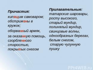 Прилагательные: татарские шаровары, росту высокого, старый мундир, полинялый мун