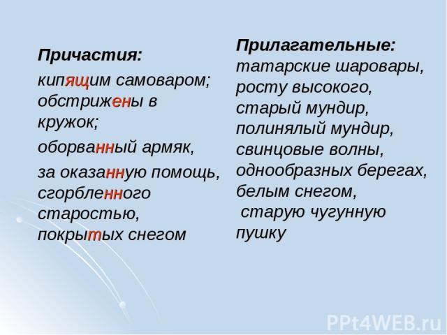 Прилагательные: татарские шаровары, росту высокого, старый мундир, полинялый мундир, свинцовые волны, однообразных берегах, белым снегом, старую чугунную пушку Причастия: кипящим самоваром; обстрижены в кружок; оборванный армяк, за оказанную помощь,…
