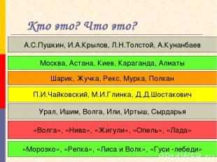 Кто это? Что это? А.С.Пушкин, И.А.Крылов, Л.Н.Толстой, А.Кунанбаев Москва, Астан