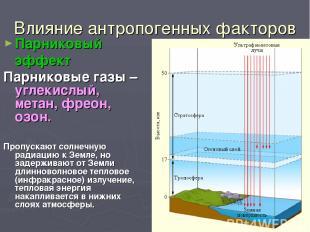 Влияние антропогенных факторов Парниковый эффект Парниковые газы – углекислый, м