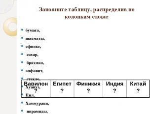 Заполните таблицу, распределив по колонкам слова: бумага, шахматы, сфинкс, сахар