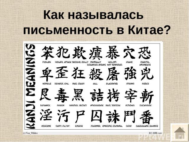 Как называлась письменность в Китае?