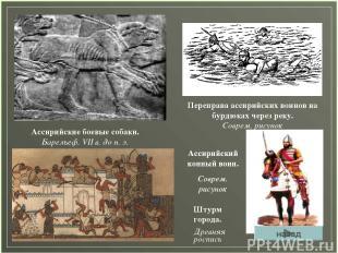 Ассирийские боевые собаки. Барельеф. VII в. до н. э. Переправа ассирийских воино