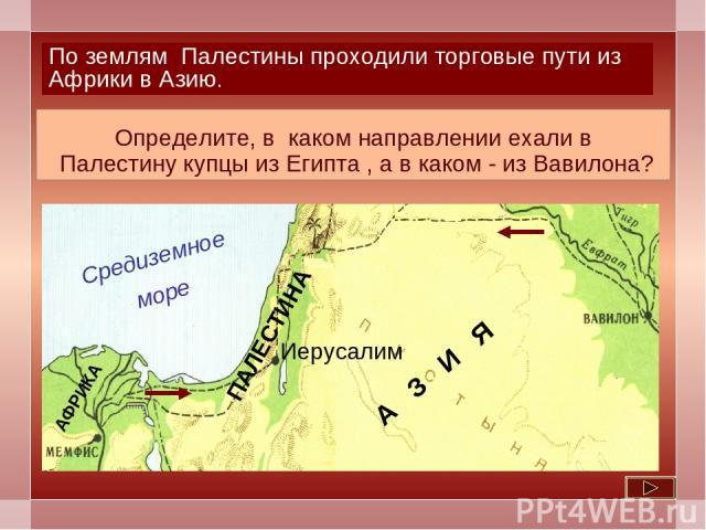 А З И Я По землям Палестины проходили торговые пути из Африки в Азию. Определите, в каком направлении ехали в Палестину купцы из Египта , а в каком - из Вавилона?