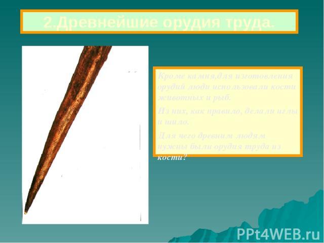 Кроме камня,для изготовления орудий люди использовали кости животных и рыб. Из них, как правило, делали иглы и шило. Для чего древним людям нужны были орудия труда из кости? 2.Древнейшие орудия труда.