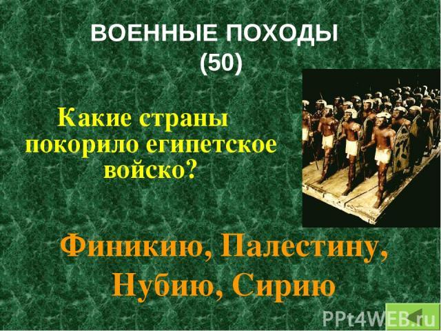 ВОЕННЫЕ ПОХОДЫ (50) Какие страны покорило египетское войско? Финикию, Палестину, Нубию, Сирию