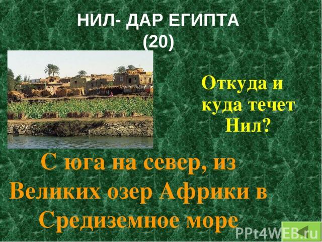 НИЛ- ДАР ЕГИПТА (20) Откуда и куда течет Нил? С юга на север, из Великих озер Африки в Средиземное море