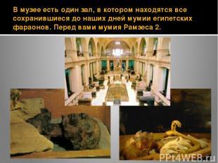 В музее есть один зал, в котором находятся все сохранившиеся до наших дней мумии