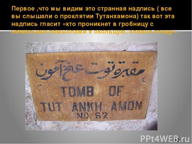 Первое ,что мы видим это странная надпись ( все вы слышали о проклятии Тутанхамона) так вот эта надпись гласит «кто проникнет в гробницу с нечистыми помыслами я окольцую, словно птицу».