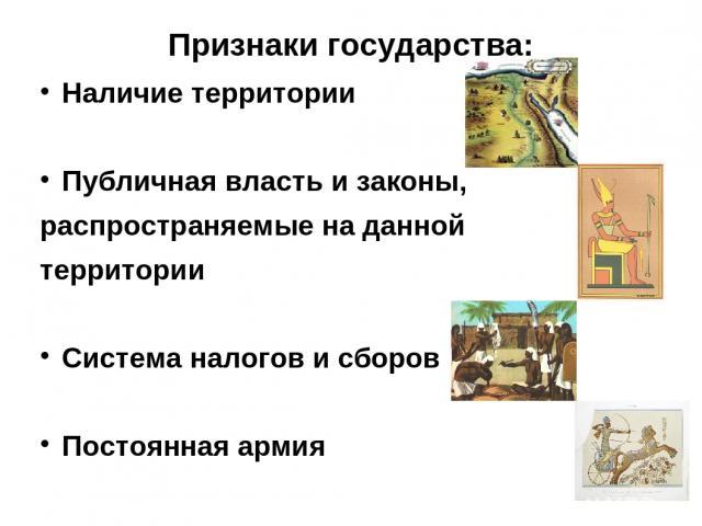 Признаки государства: Наличие территории Публичная власть и законы, распространяемые на данной территории Система налогов и сборов Постоянная армия