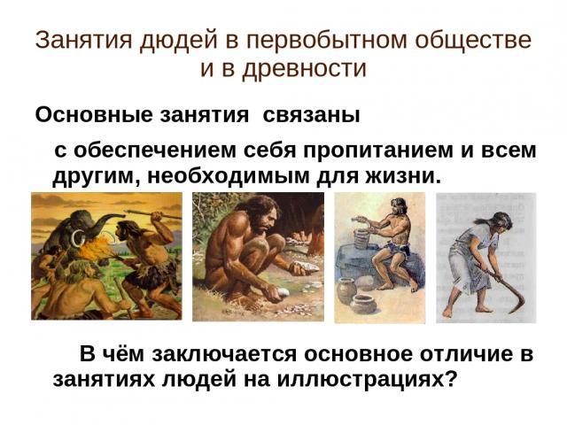 Занятия дюдей в первобытном обществе и в древности Основные занятия связаны с обеспечением себя пропитанием и всем другим, необходимым для жизни. В чём заключается основное отличие в занятиях людей на иллюстрациях?