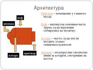 Архитектура Притвор – помещение у главного входа Неф – вытянутая основная часть