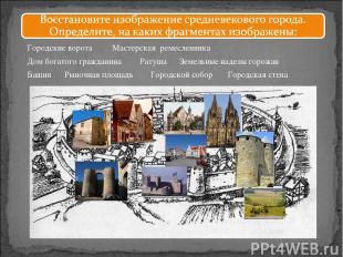 Городские ворота Земельные наделы горожан Городской собор Дом богатого гражданин