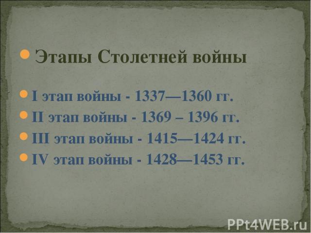 Этапы Столетней войны I этап войны - 1337—1360 гг. II этап войны - 1369 – 1396 гг. III этап войны - 1415—1424 гг. IV этап войны - 1428—1453 гг.