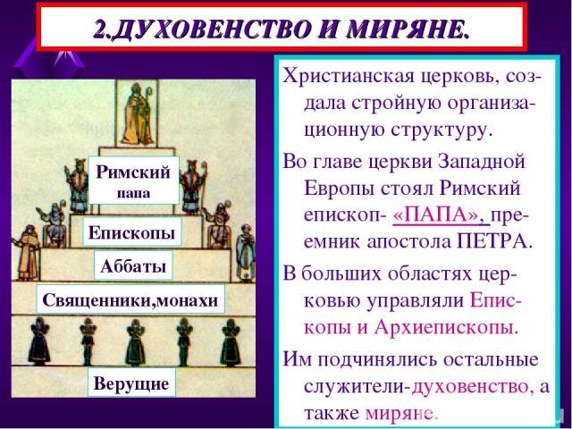 2.ДУХОВЕНСТВО И МИРЯНЕ. Христианская церковь, соз-дала стройную организа-ционную структуру. Во главе церкви Западной Европы стоял Римский епископ- «ПАПА», пре-емник апостола ПЕТРА. В больших областях цер-ковью управляли Епис-копы и Архиепископы. Им …