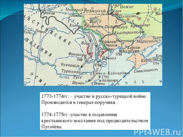 1773-1774гг. – участие в русско-турецкой войне. Производится в генерал-поручики 1774-1775гг.-участие в подавлении крестьянского восстания под предводительством Пугачёва.