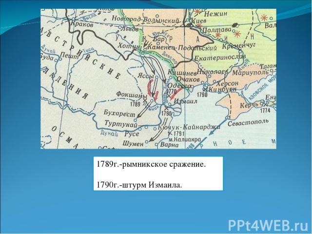 1789г.-рымникское сражение. 1790г.-штурм Измаила.