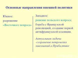 Основные направления внешней политики Южное: разрешение «Восточного вопроса» Зап