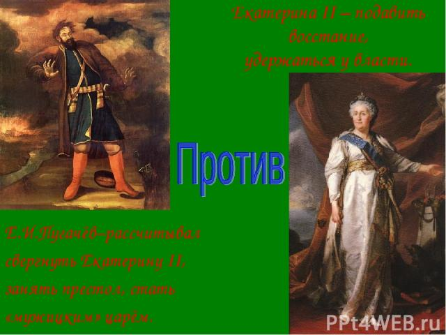Екатерина II – подавить восстание, удержаться у власти. Е.И.Пугачёв–рассчитывал свергнуть Екатерину II, занять престол, стать «мужицким» царём.