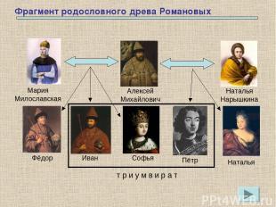 Фрагмент родословного древа Романовых Мария Милославская Алексей Михайлович Ната