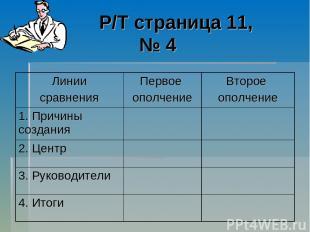 Р/Т страница 11, № 4 Линии сравнения Первое ополчение Второе ополчение 1. Причин