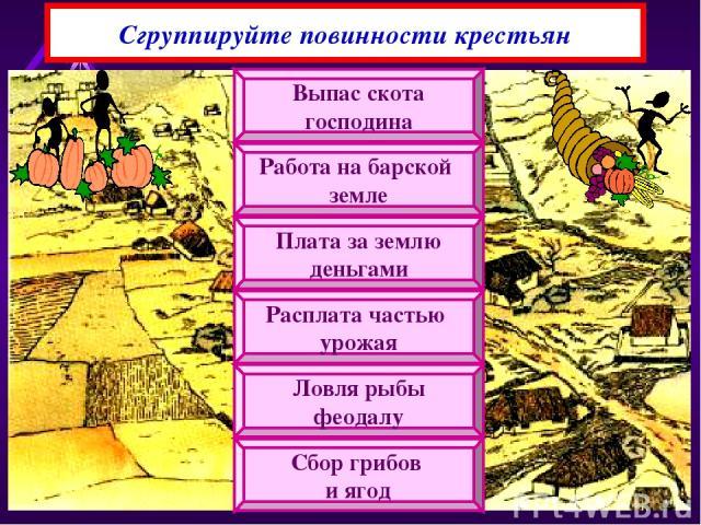 Сгруппируйте повинности крестьян Выпас скота господина Работа на барской земле Плата за землю деньгами Расплата частью урожая Ловля рыбы феодалу Сбор грибов и ягод