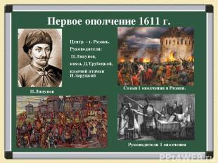 Первое ополчение 1611 г. Созыв I ополчения в Рязани. П.Ляпунов Центр - г. Рязань