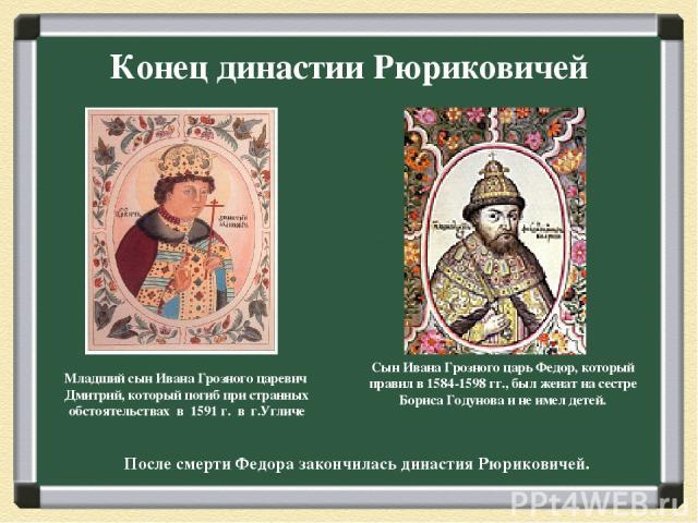 Конец династии Рюриковичей Младший сын Ивана Грозного царевич Дмитрий, который погиб при странных обстоятельствах в 1591 г. в г.Угличе Сын Ивана Грозного царь Федор, который правил в 1584-1598 гг., был женат на сестре Бориса Годунова и не имел детей…