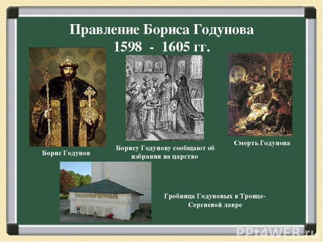 Правление Бориса Годунова 1598 - 1605 гг. Борис Годунов Борису Годунову сообщают об избрании на царство Гробница Годуновых в Троице-Сергиевой лавре Смерть Годунова