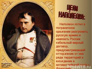 Наполеон хотел в пограничном сражении разгромить русскую армию и навязать России