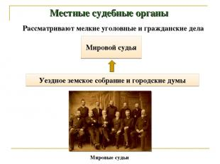 Местные судебные органы Мировой судья Уездное земское собрание и городские думы