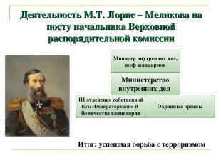 Деятельность М.Т. Лорис – Меликова на посту начальника Верховной распорядительно