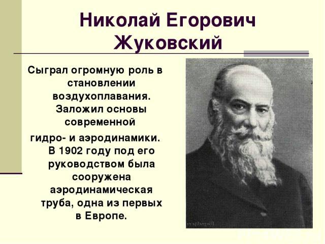 Николай Егорович Жуковский Сыграл огромную роль в становлении воздухоплавания. Заложил основы современной гидро- и аэродинамики. В 1902 году под его руководством была сооружена аэродинамическая труба, одна из первых в Европе.