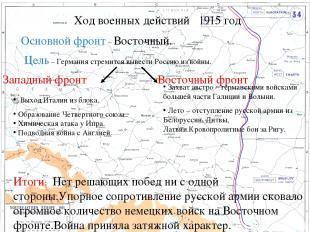 Основной фронт – Восточный. Цель – Германия стремится вывести Россию из войны. З