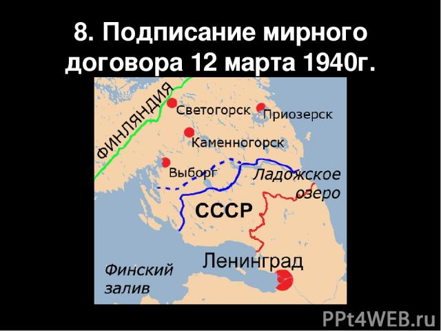 8. Подписание мирного договора 12 марта 1940г.