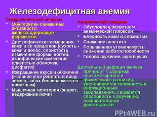 Железодефицитная анемия Сидеропенический синдром Обусловлен снижением активности